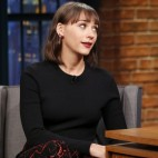 LATE NIGHT WITH SETH MEYERS -- Episode 312 -- Pictured: (l-r) Actress Rashida Jones during an interview with host Seth Meyers on January 14, 2016 -- (Photo by: Lloyd Bishop/NBC)