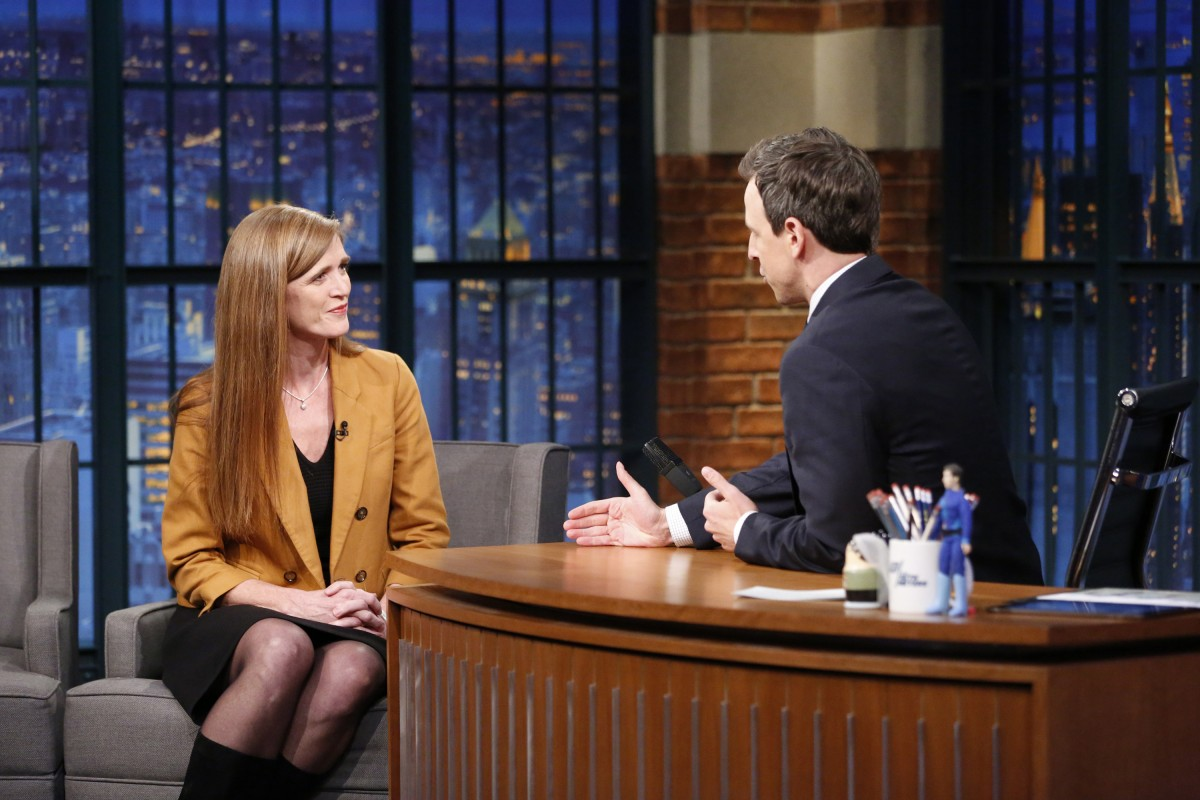 LATE NIGHT WITH SETH MEYERS -- Episode 350 -- Pictured: (l-r) United States Ambassador to the United Nations, Samantha Power, during an interview with host Seth Meyers on April 4, 2016 -- (Photo by: Lloyd Bishop/NBC)