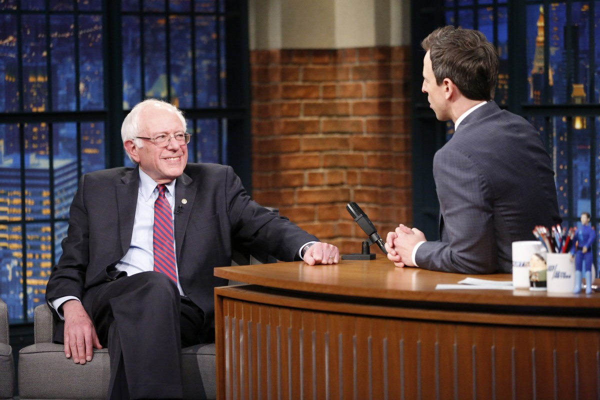 LATE NIGHT WITH SETH MEYERS -- Episode 353 -- Pictured: (l-r) Senator Bernie Sanders during an interview with host Seth Meyers on April 7, 2016 -- (Photo by: Lloyd Bishop/NBC)