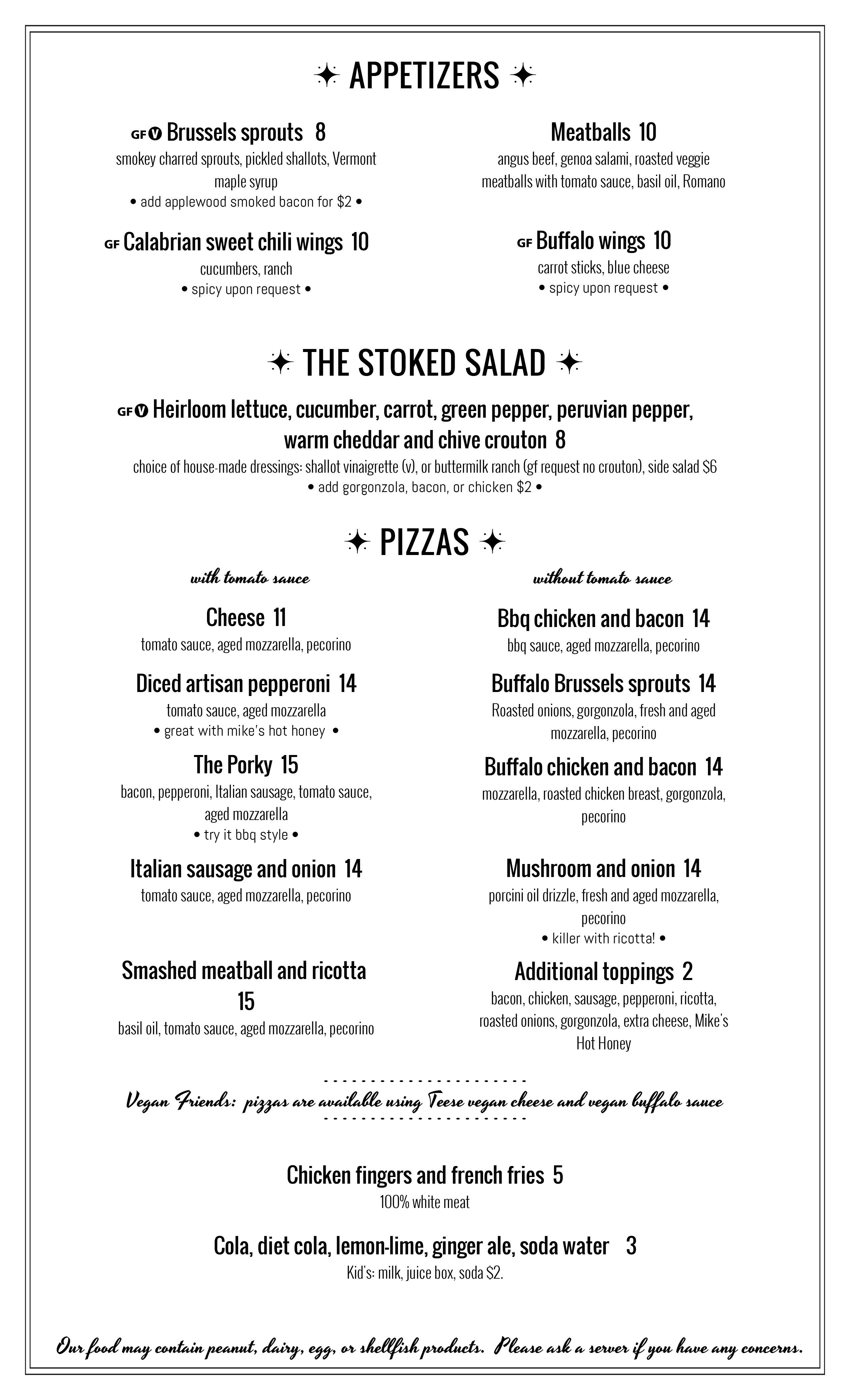 Stoked Pizza Brookline menu
