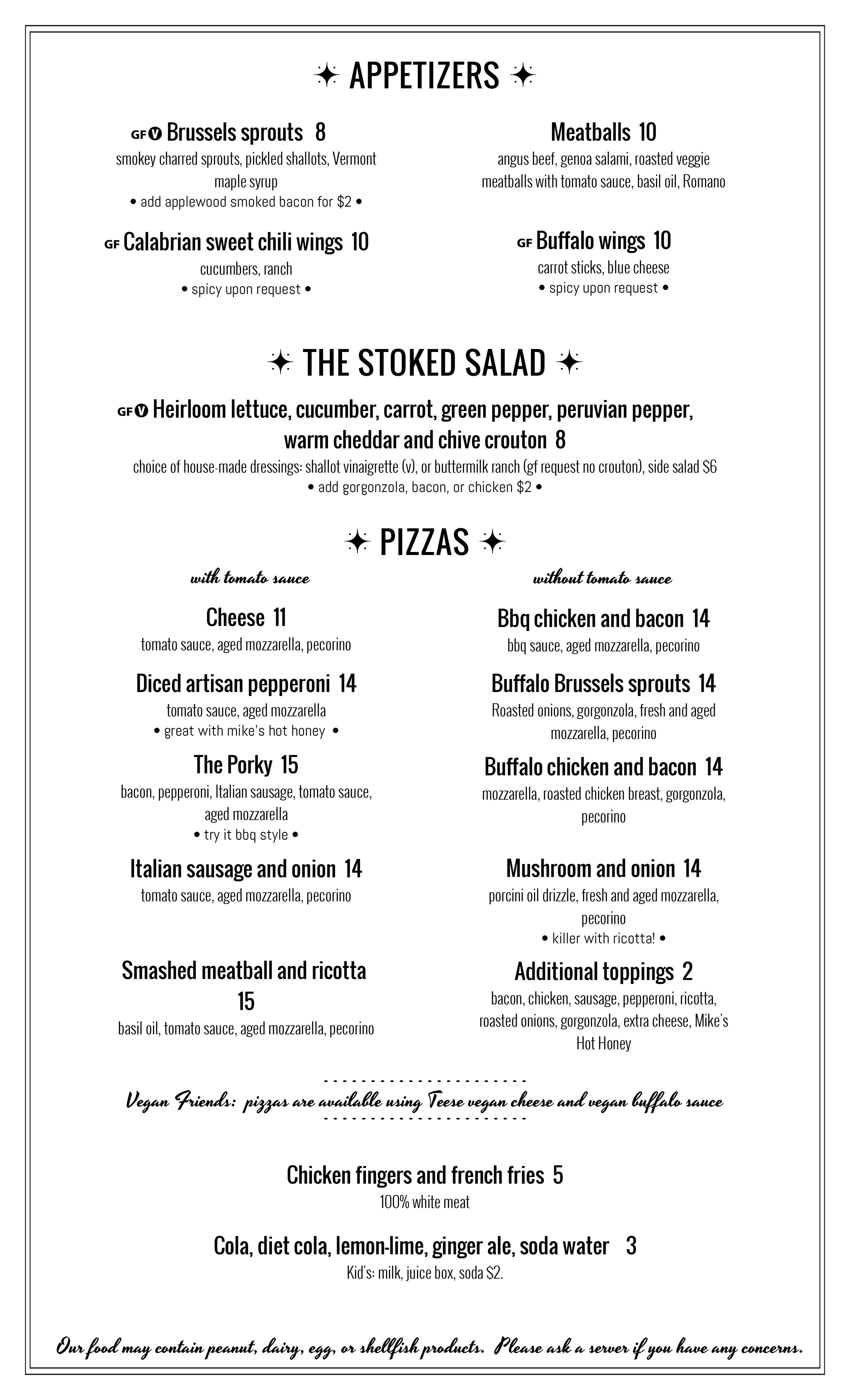 Stoked Pizza Brookline menu