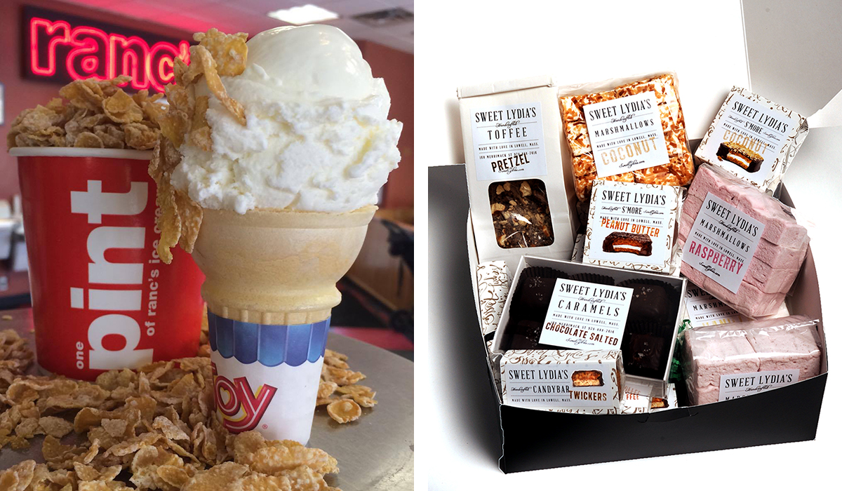 (Left) Tiger's Milk ice cream from Rancatore's, (right) a gift box of treats by Sweet Lydia's