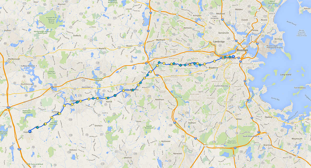 Boston Marathon Route Map Boston Marathon Google Map   Boston Magazine