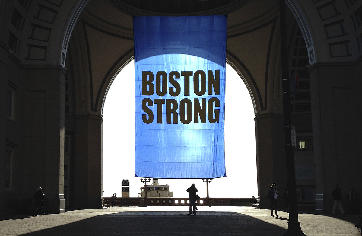 Boston Strong banner Rowes Wharf Boston Harbor Hotel