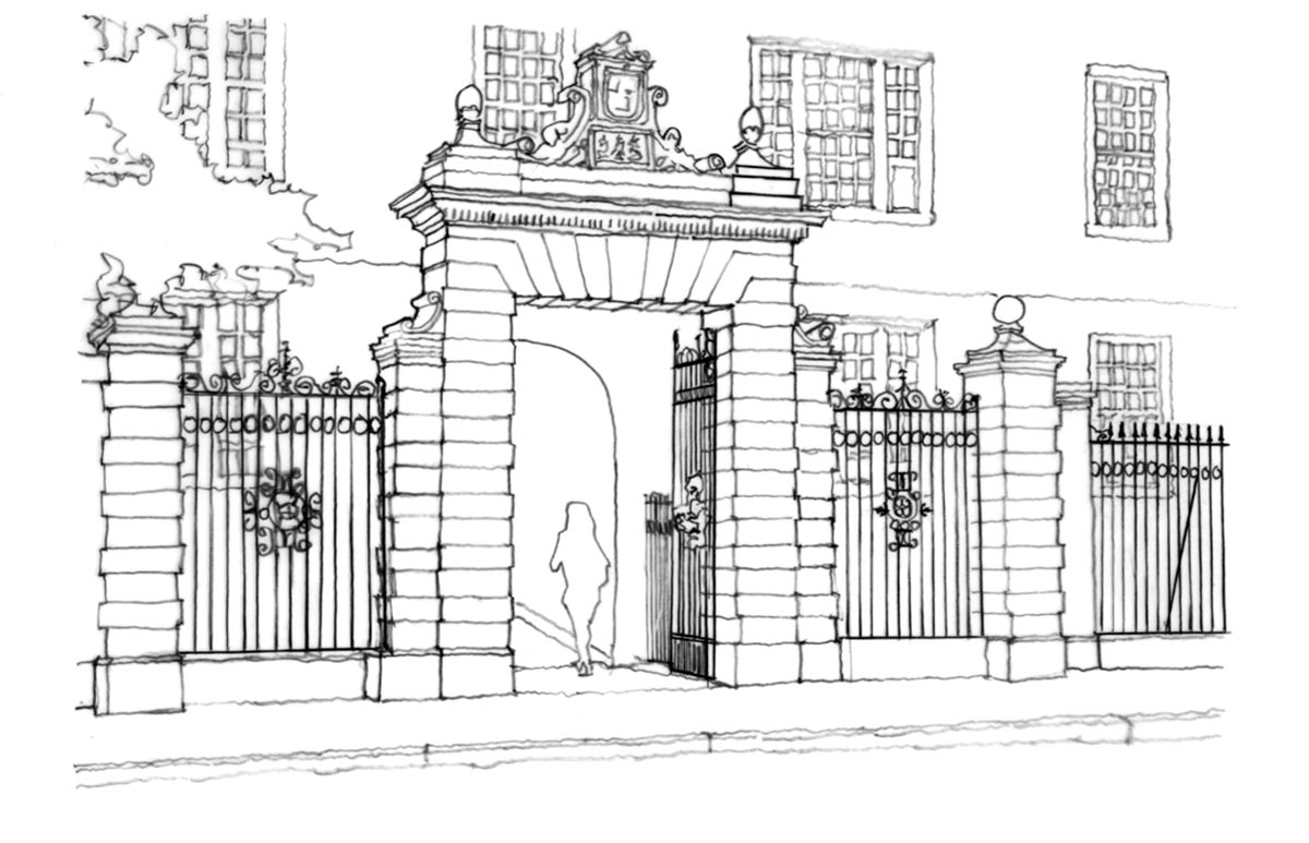 The Class of 1889 Gate / Sketch by Roger Erickson