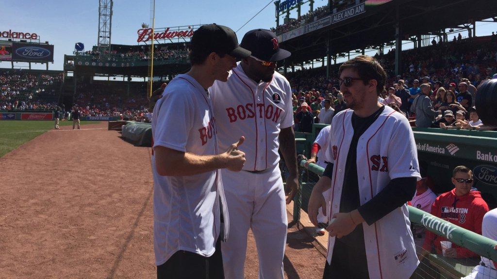 Jake Gyllenhaal, David Ortiz, and Jeff Bauman at Fenway Park Photo by Boston Red Sox via Twitter