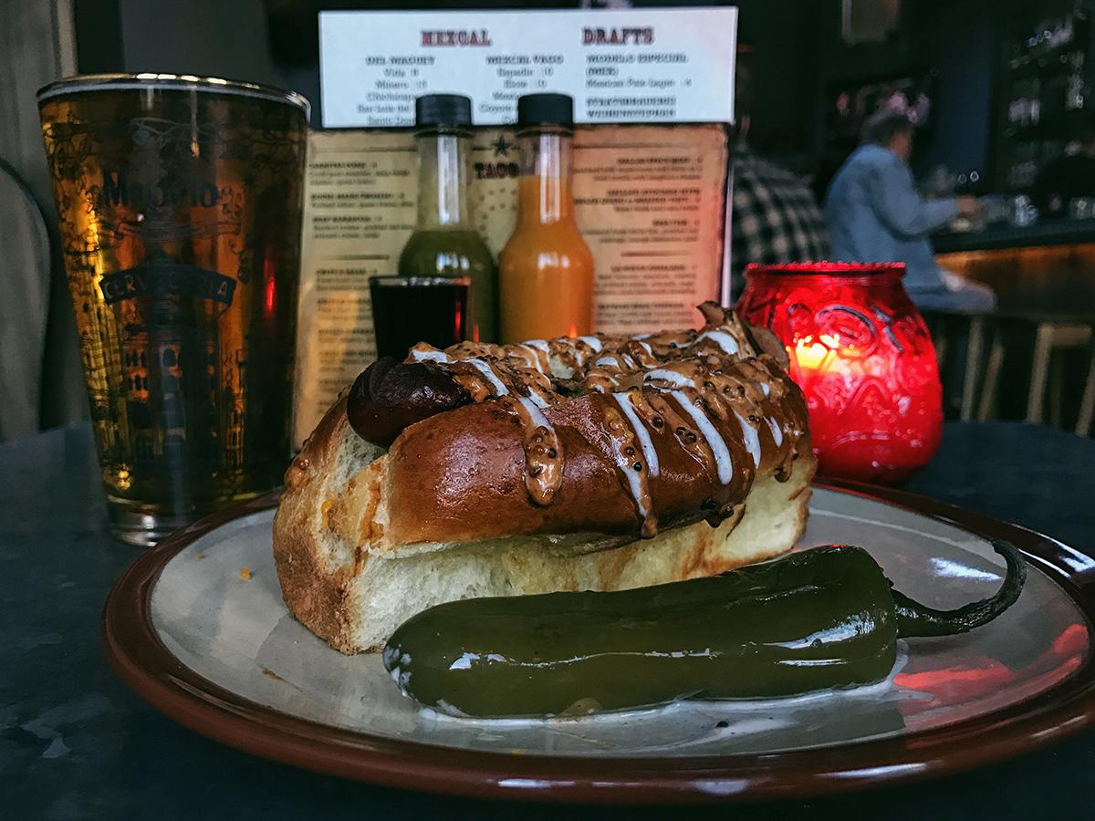 The Sonoran Dog, from Lone Star Taco Bar. / Photo by Jennifer Trebino