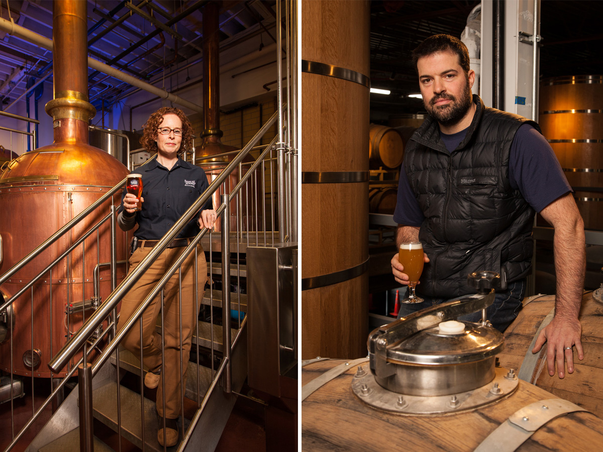From 'Behind the Beer,' (L to R) Megan Parisi, Head brewer at Samuel Adams; JC Tetreault, owner of Trillium Brewing Co.