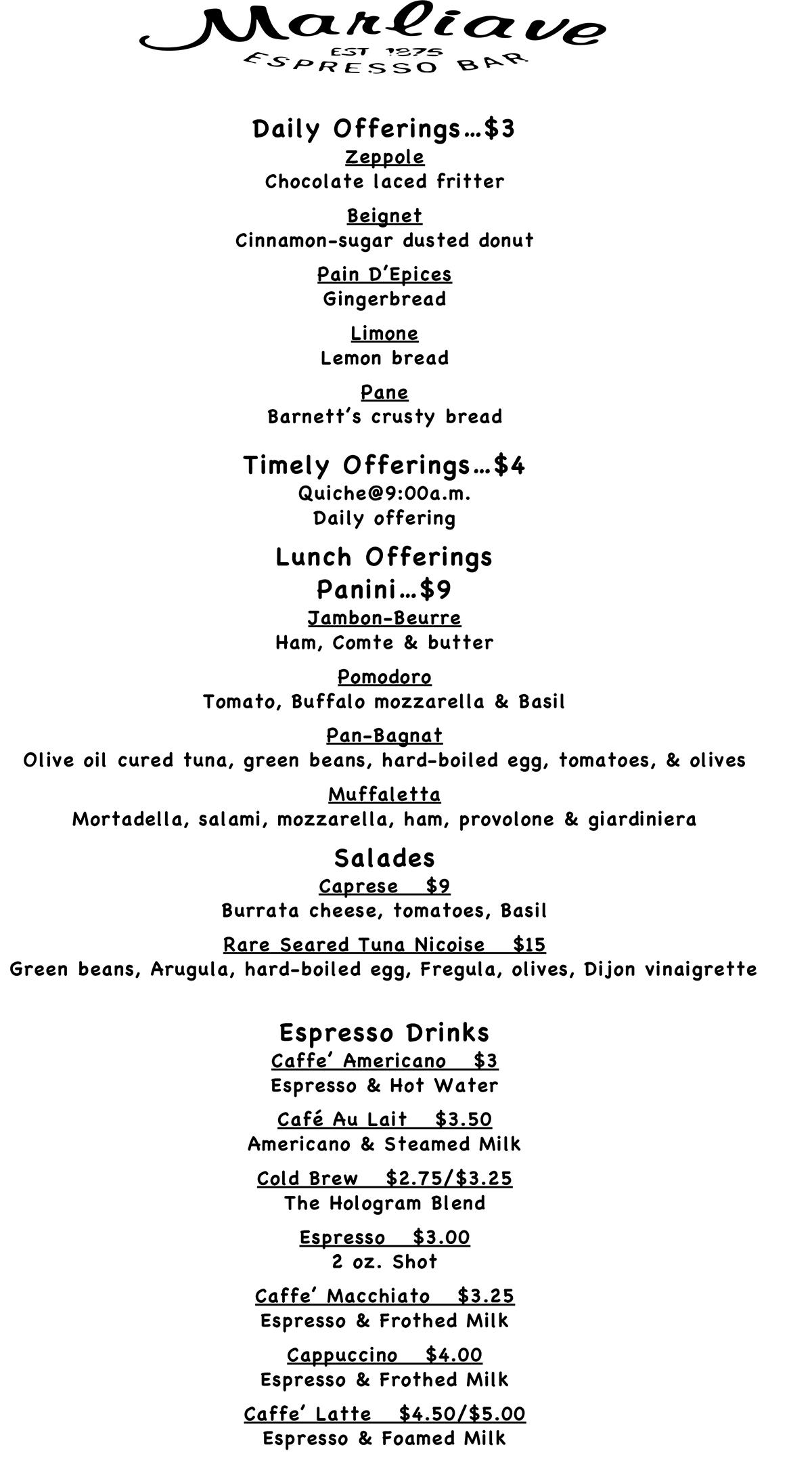 Cafe Marliave menu