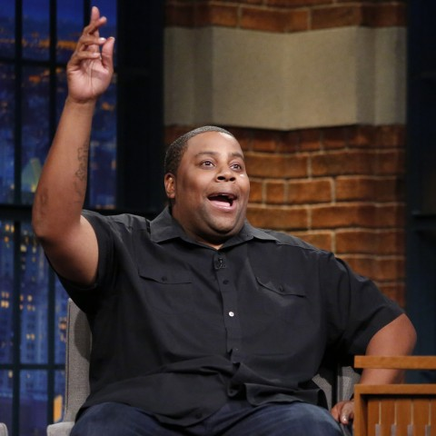 LATE NIGHT WITH SETH MEYERS -- Episode 366 -- Pictured: (l-r) Comedian Kenan Thompson during an interview with host Seth Meyers on May 9, 2016 -- (Photo by: Lloyd Bishop/NBC)