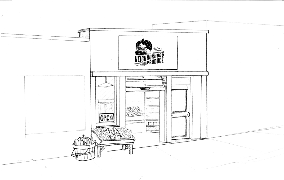 rendering of a future Neighborhood Produce store