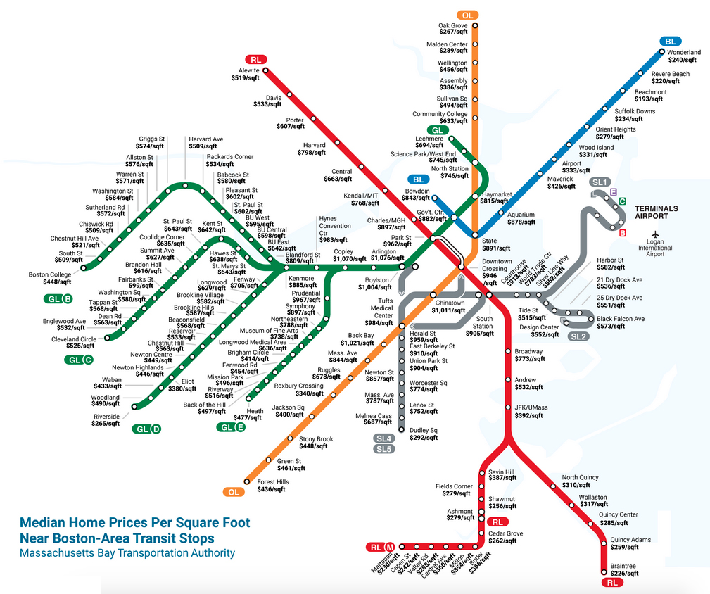 How Much It Costs to Live at Each MBTA Stop