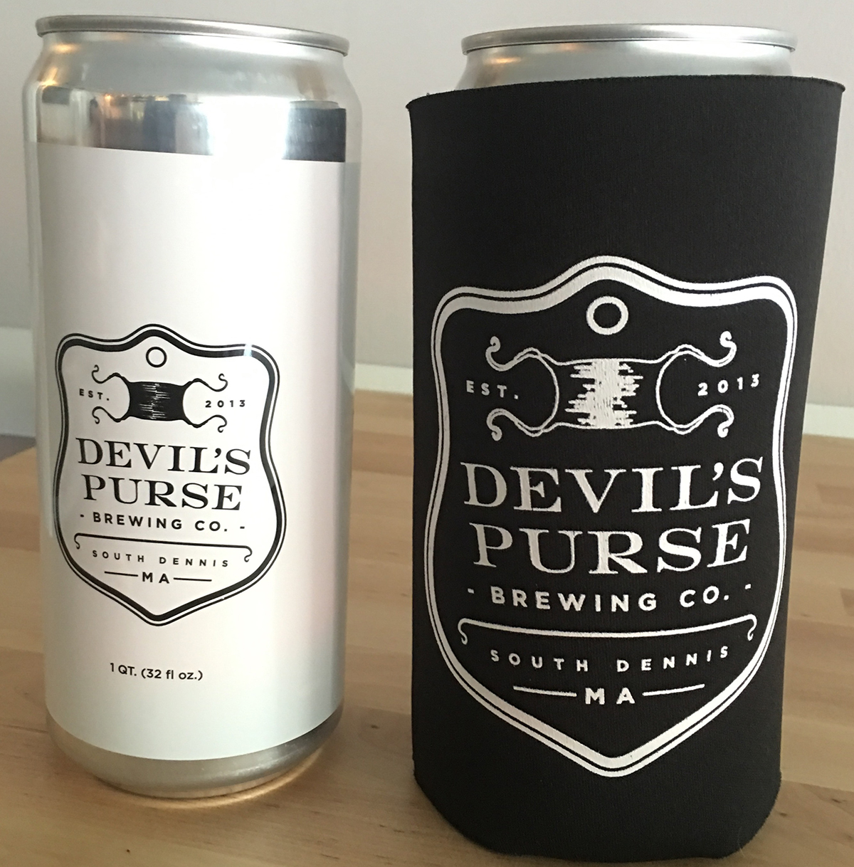 Crowlers (and a crowler koozie) at Devil's Purse Brewing