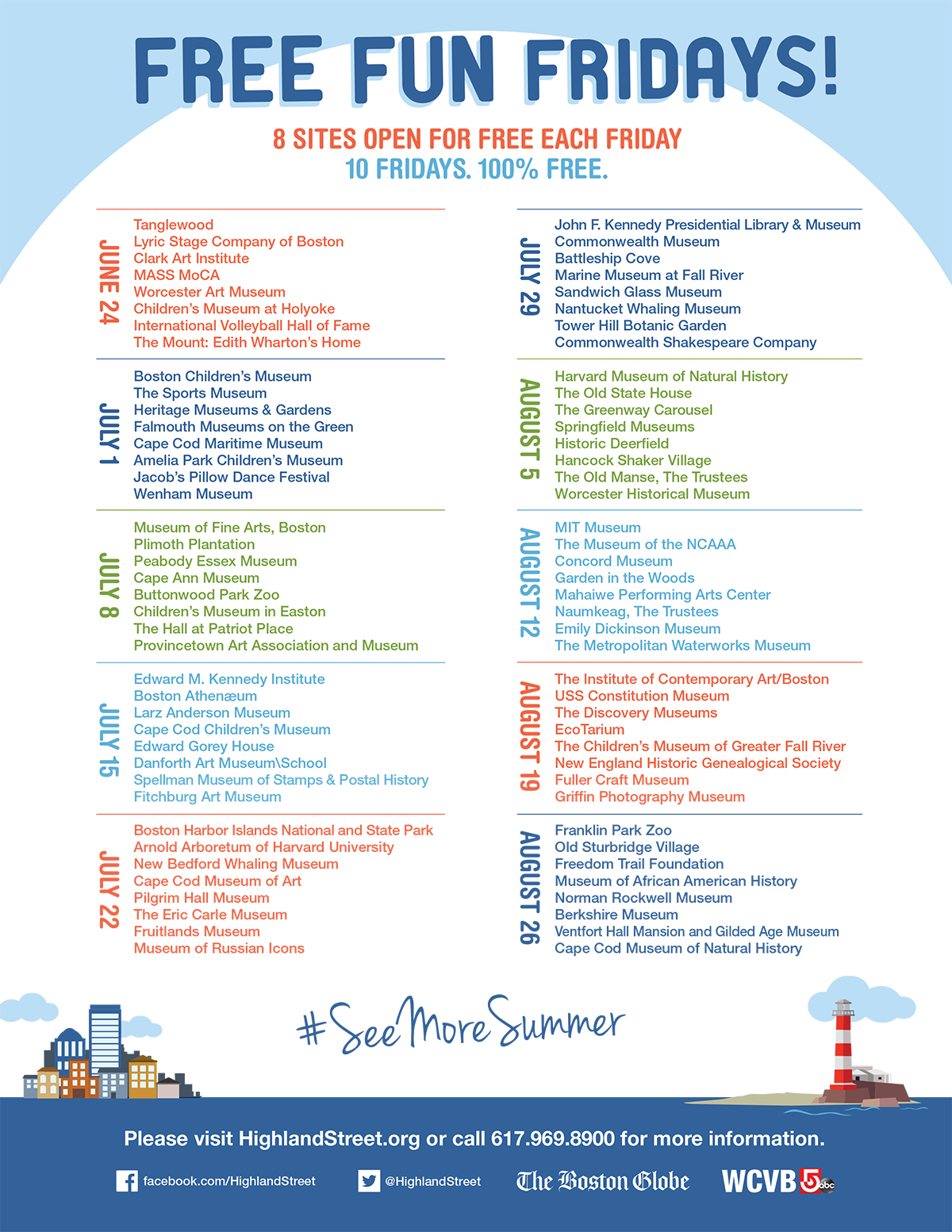 free fun fridays 2016 schedule boston lineup