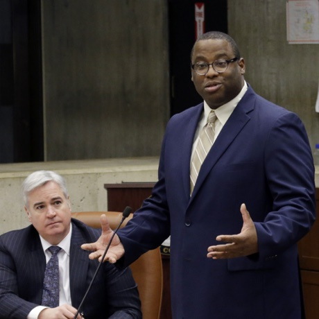 Boston City Councilor Tito Jackson stands to speak during a council meeting at City Hall in Boston, Wednesday, Jan. 13, 2016. (AP Photo/Elise Amendola)