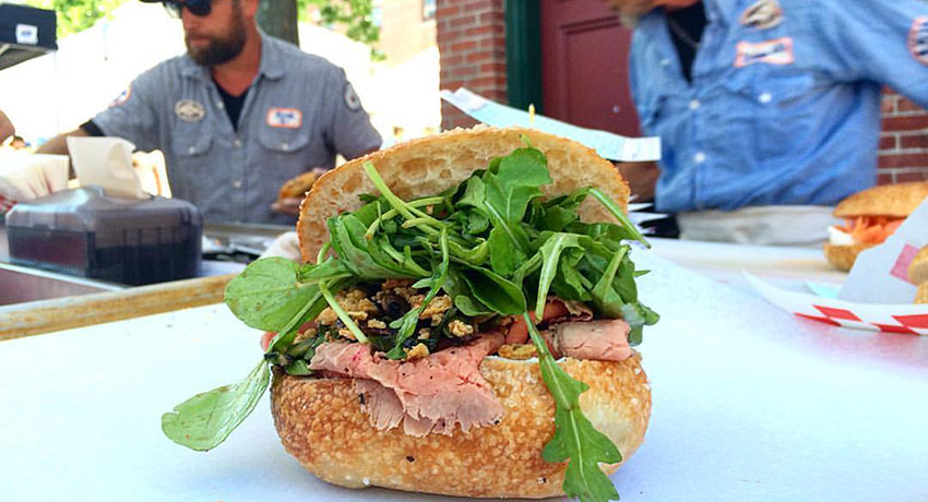 Exodus Bagels roast beef sandwich at Egleston Farmers Market
