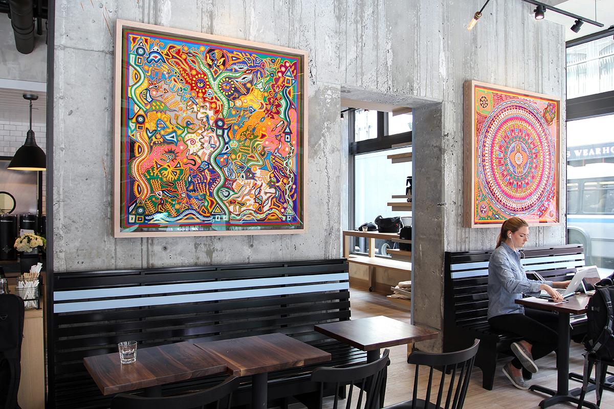 Huichol yarn paintings at George Howell Coffee