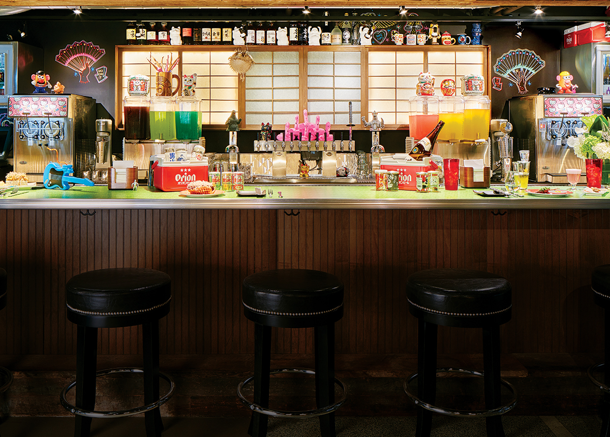 """The bar at Hojoko. / Photo by Jared Kuzia for """"At Hojoko, It's East Meets West Meets East Again."""""""