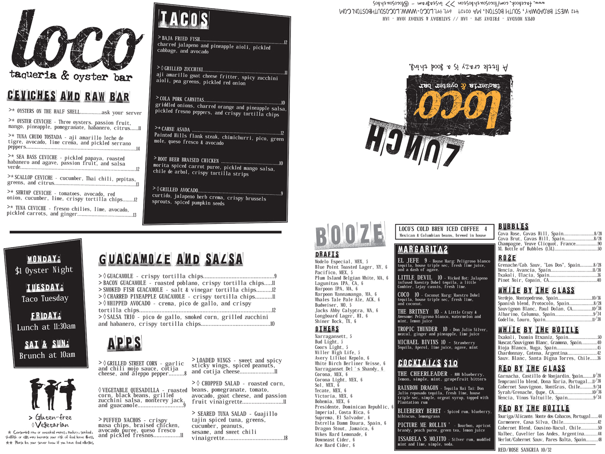 Loco Taqueria Summer 2016 lunch menu