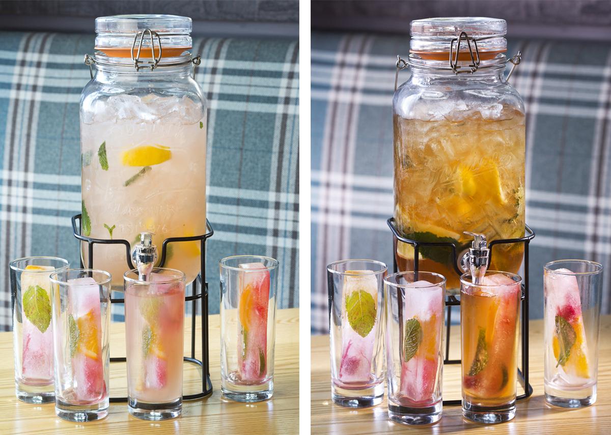 Raspberry bourbon lemonade (L) and Bourbon Peach Sweet Tea at Southern Kin