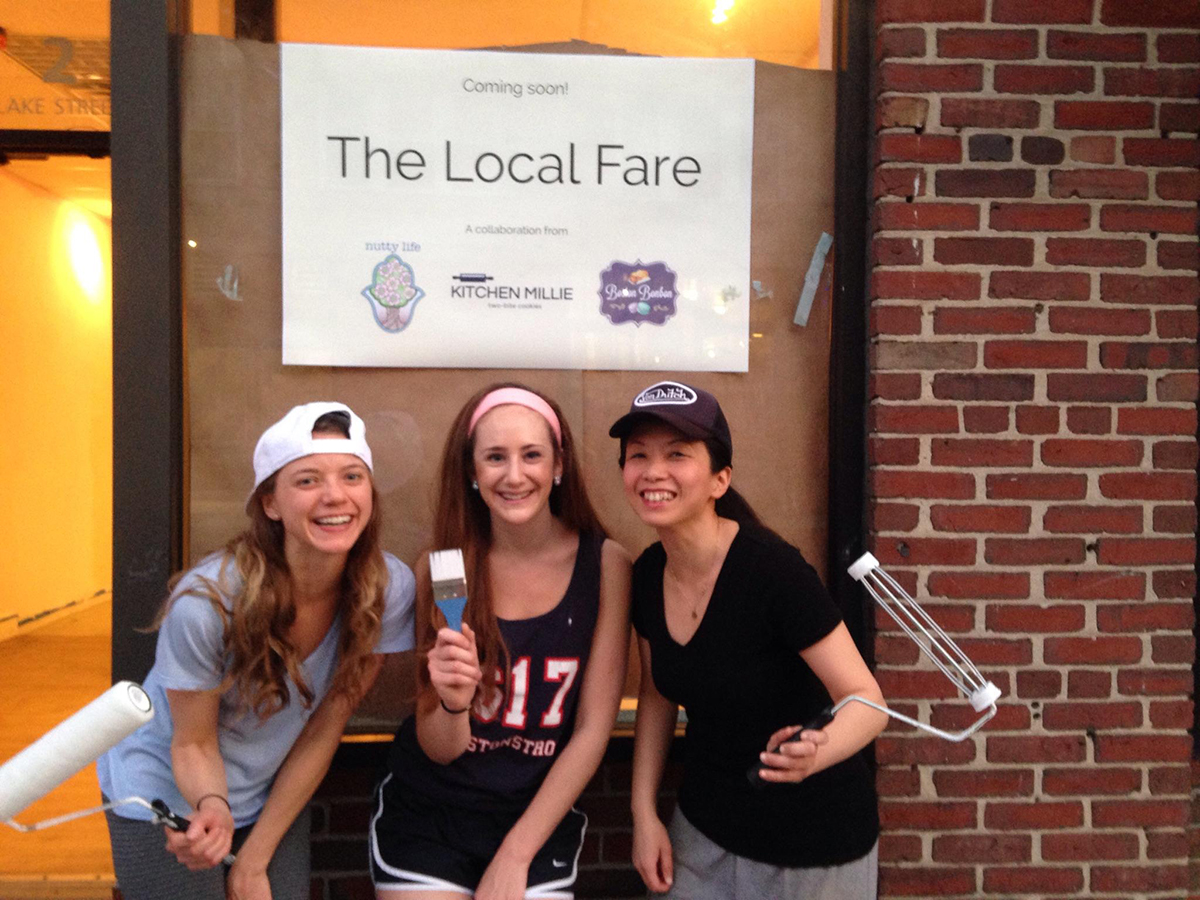 (L to R) Caroline Huffstetler of Nutty Life, Michelle Wax of Kicteh nMillie, and Rita Ng of Boston Bonbon at the Local Fare in Arlington