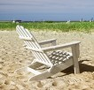Beach chair in Chatham bay harbor in Barnstable Massachusetts USA