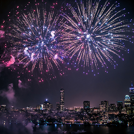 boston skyline fireworks feature