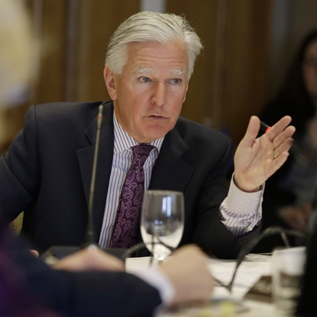 Marty Meehan, former congressman from Massachusetts and current chancellor of the University of Massachusetts - Lowell, replies to an interview question before being named the new president of the entire five-campus UMass system by a unanimous vote of the board of trustees Friday, May 1, 2015, in Boston. (AP Photo/Stephan Savoia)