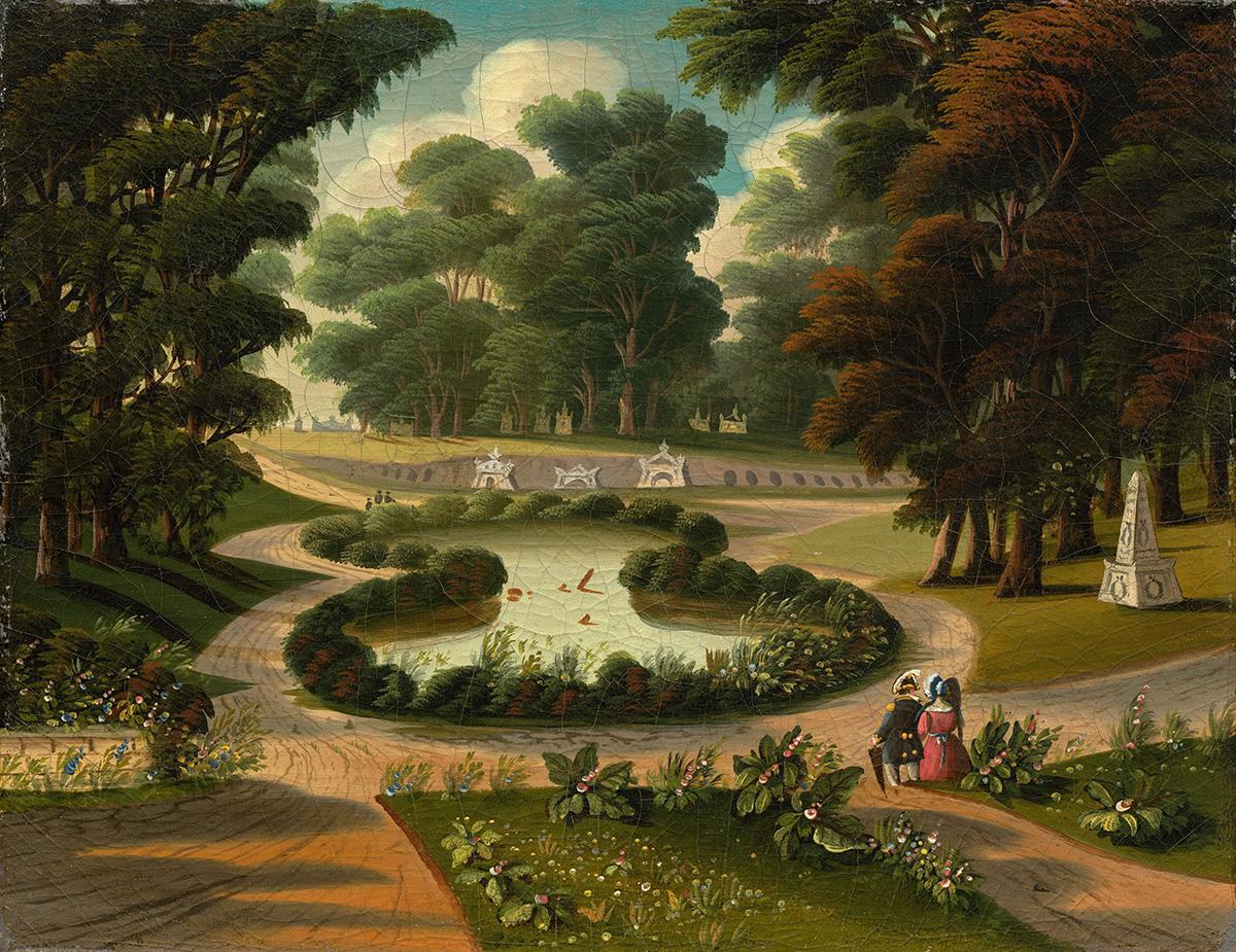 A mid 19th-century Thomas Chambers painting of Mount Auburn Cemetery / Photo via Wikimedia/Creative Commons