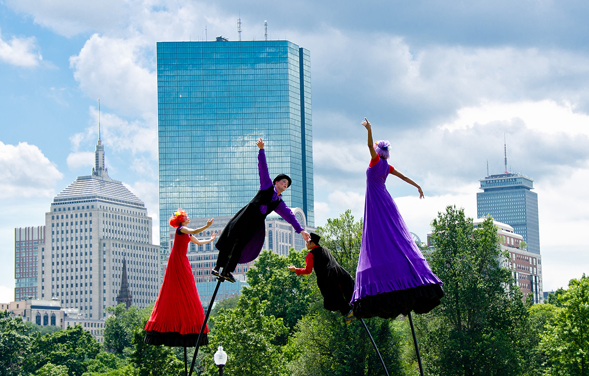 outside the box stilt walkers; free things to do in boston july