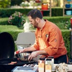 Chef Tony Maws preparing his Round 1 dish, Spice-Crusted and Grilled Tri-tip Steak with Grilled Avocado & Shitake Mushrooms with Red Pepper & Rose Petal Confit Sauce, as seen on Food Network's Chopped, Grill Masters Special.