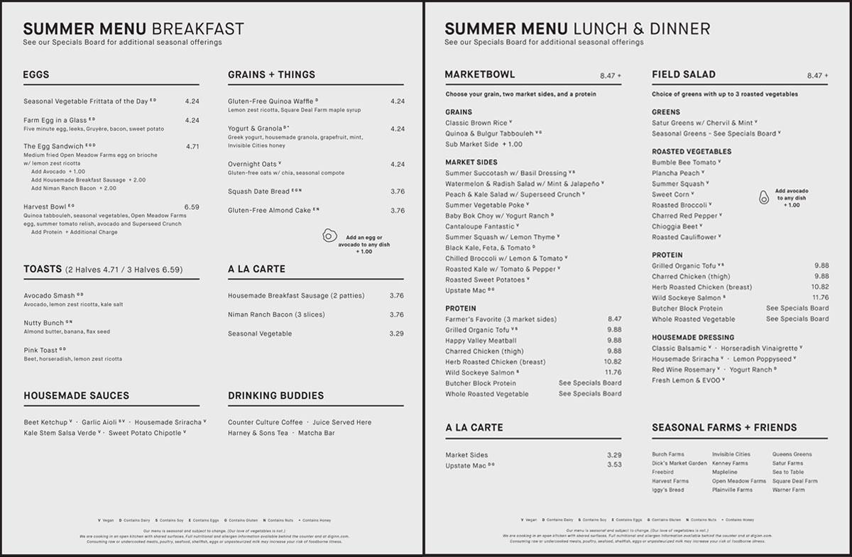 Dig Inn Boston summer 2016 menu