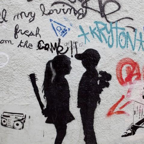 Bristol, United Kingdom - March 28, 2011: Street graffiti paintings in central Bristol, United Kingdom. City of Bristol is a very popular place to exhibit street graffiti art of different anonymous artists.