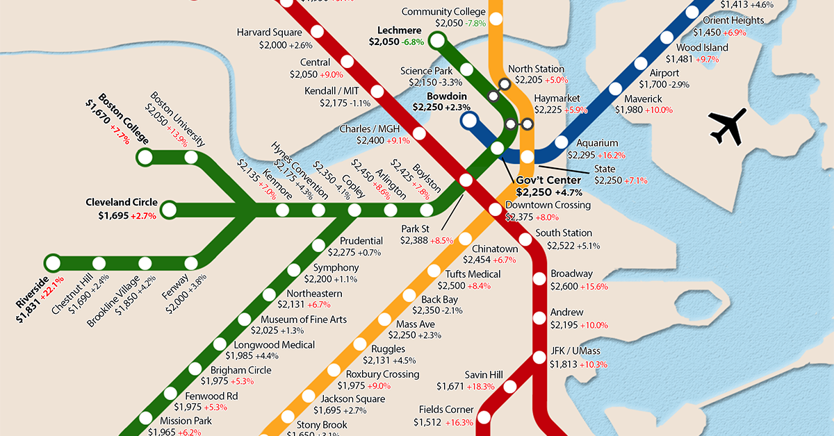 One-Bedroom Rent MBTA Map Shows Huge Differences
