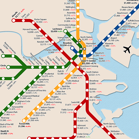 Boston T Subway Map.One Bedroom Rent Mbta Map Shows Huge Differences