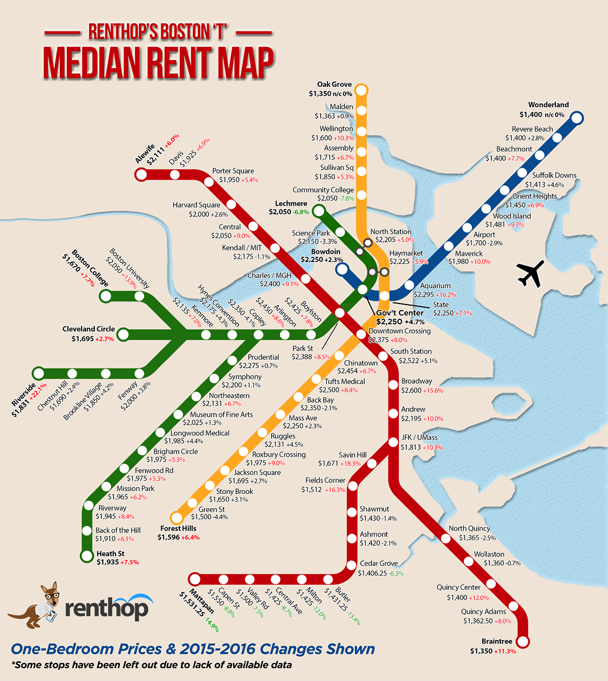 One Bedroom Rent Mbta Map Shows Huge Differences Boston