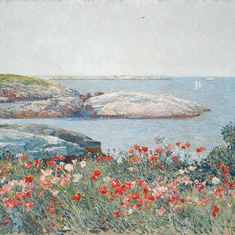 Childe Hassam 1859 - 1935, United States Poppies, Isles of Shoals, 1891 Oil on canvas overall: 50.2 x 61 cm (19 3/4 x 24 in.) framed: 73.5 x 83.8 x 6.7 cm (28 15/16 x 33 x 2 5/8 in.) Gift of Margaret and Raymond Horowitz 1997.135.1 Courtesy National Gallery of Art, Washington D.C.