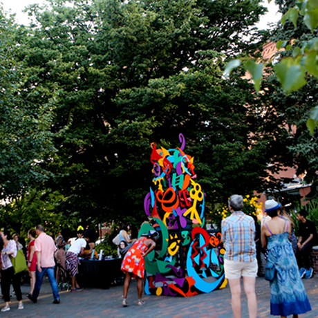 feature crowds admire completed emergence sculpture