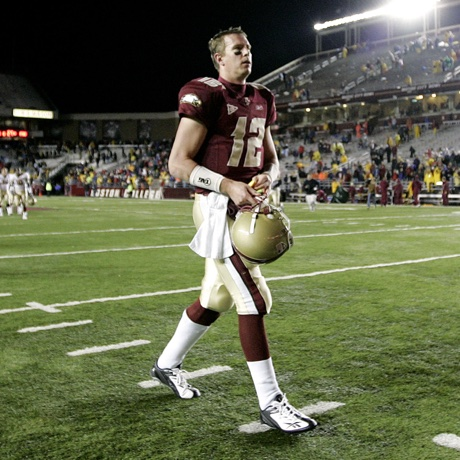 Boston College quarterback Matt Ryan walks off the field after their 27-17 loss to Florida State in a college football game in Boston Saturday, Nov. 3, 2007.  (AP Photo/Winslow Townson)