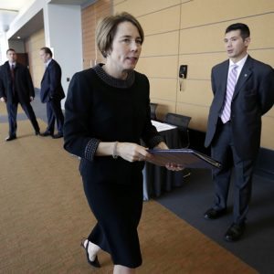 Massachusetts Attorney General Maura Healey arrives at a meeting of the Massachusetts Gaming Commission, Thursday, Jan. 22, 2015, in Boston. Healey said her office will submit recommendations around gambling consumer protection issues soon. (AP Photo/Steven Senne)