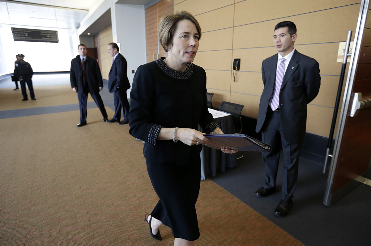 Massachusetts attorney general maura healey arrives at a meeting of