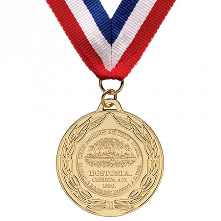 Gold Olympic medal on Ribbon with clipping path