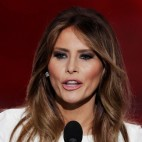 In this combination of photos, Melania Trump, left, wife of Republican Presidential Candidate Donald Trump, speaks during the opening day of the Republican National Convention in Cleveland, Monday, July 18, 2016, and Michelle Obama, wife of Democratic presidential candidate, Sen. Barack Obama, D-Ill., speaks at the Democratic National Convention in Denver, Monday, Aug. 25, 2008. Melania Trump's well-received speech Monday to the Republican National Convention contained passages that match nearly word-for-word the speech that first lady Michelle Obama delivered in 2008 at the Democratic National Convention. (AP Photos)