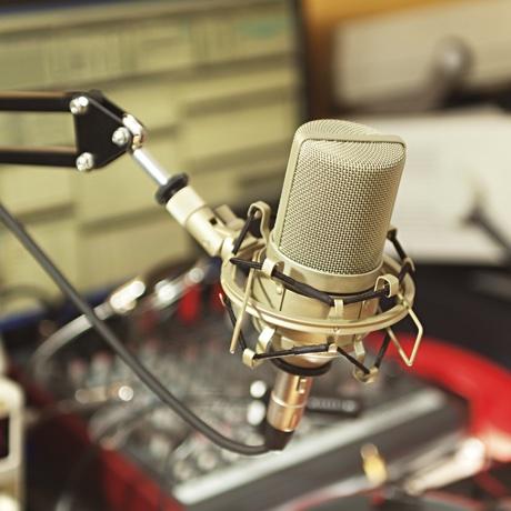 Radio broadcast studio, on the air.