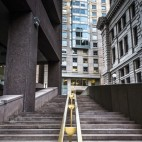 Staircase and buildings at Suffolk University in Boston, Massachusetts.