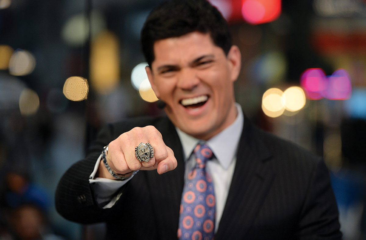 New York, NY - January 27, 2014 - Herald Square: Analyst Tedy Bruschi shows his Super Bowl ring on the set of NFL Live.(Photo by Joe Faraoni / ESPN Images)