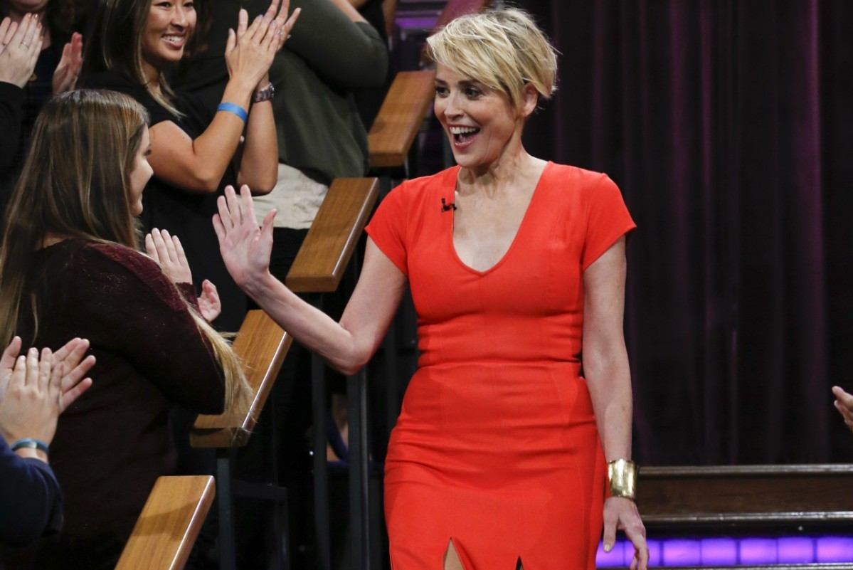 Sharon Stone on the 'Late Late Show with James Corden'