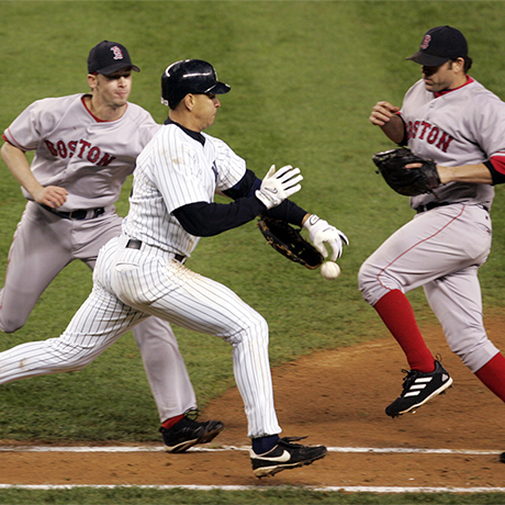 New York Yankees' Alex Rodriguez knocks the ball out of the glove of Boston Red Sox pitcher Bronson Arroyo, left, as first baseman Doug Mientkiewicz looks on during the eighth inning of Game 6 of the ALCS in New York, Tuesday, Oct. 19, 2004. Rodriguez was initially called safe, but after conferring, the umpires ruled he was out for interference. (AP Photo/Amy Sancetta)