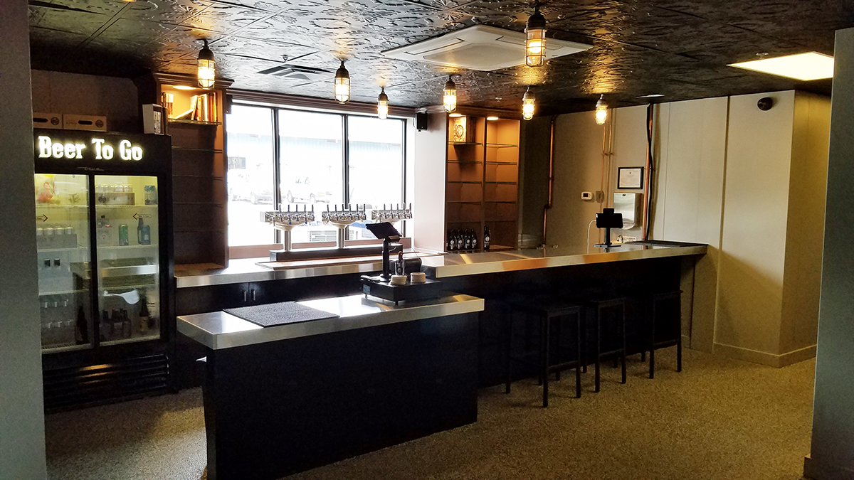 The bar at Exhibit 'A' Brewing Company