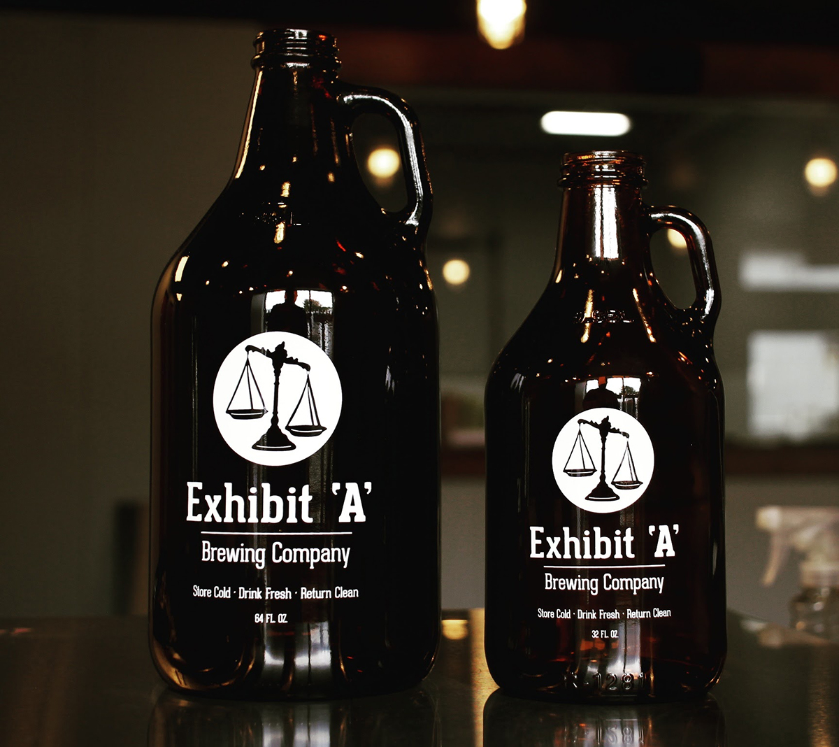 Exhibit 'A' Brewing Company growlers